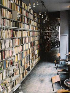 Book wall with great lighting idea