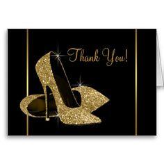 Black Gold High Heel Shoes Thank You Cards 50th Birthday Invitations, Birthday Cards, Birthday Ideas, 50 Birthday, Birthday Parties, Shoe Template, Newspaper Dress, Gold High Heels, Dress Card
