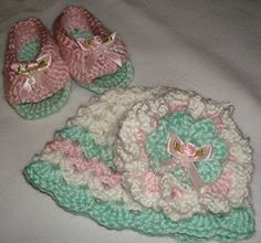Boutique New Born Girl Crochet Hat and Booties by Alex1946 on Etsy, $25.00