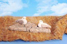 Miniature felted seagulls on drifwood, felted wool birds on Etsy, $18.00