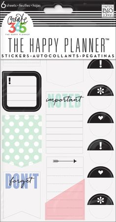 Stickers - Don't Forget - Nothing is easier than customizing your planner with stickers! This value pack features stickers that were designed to fit perfectly in the daily columns of your weekly view in The Happy Planner™. Each package includes 6 sheets of stickers that contain tabs and page markers specifically for planners.