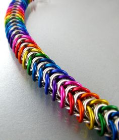 Handmade Chainmaille Bracelet Rainbow Jewelry Box Chain by Janabolic