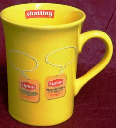 "RARE Vintage Lipton Yellow Label Tea Bag Logo Mug Cup - ""Chatting"" on Inner Rim #Lipton"