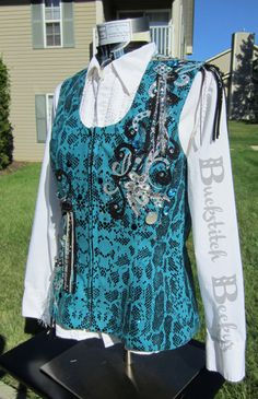 NEW Teal Western Pleasure Show Vest and Scarf by BuckstitchBeckys