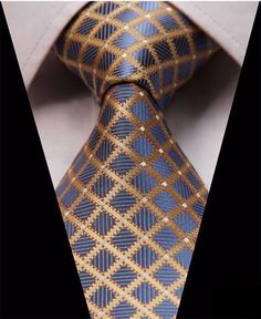 Forever Diamonds Silk Tie and Pocket Square Tie And Pocket Square, Pocket Squares, Diamond And Silk, French Cuff Dress Shirts, Cool Ties, Dapper Men, Well Dressed Men, Yellow Stripes, Blue Yellow