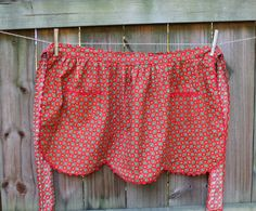 Vintage Half Apron - Red with Ric Rac - Scallop Edging.