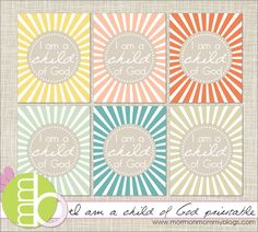 """""""I am a child of God""""print on sticky paper. Use for VB, Sundayschool, Childrens church, parties etc to close goody bags from peoniesandpoppyseeds.com"""