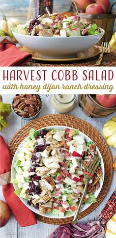 Harvest Cobb Salad with honey dijon ranch dressing - a perfect lunch for the fall! Chopped apples, pecans, and dried cranberries bring those fall flavors out in a classic salad.