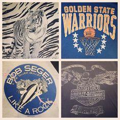 """Vintage tees heading to the shop tonight : tiger print all over sz L-M $32 , golden state warriors tank top sz M-S $30 , bob seger raglan style sz M-S $65…"""