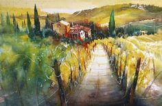 Toskana - Heinz Schweizer Watercolor Images, Watercolor Artists, Ink Painting, Watercolor Landscape, Watercolor And Ink, Landscape Art, Wine Vineyards, My Land, Impressionism