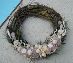Tropical Sea Shell Wreath Coastal Beach Cottage Decor Seaside Grapevine Art | eBay