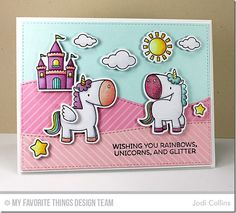 May MFT Release Countdown: Day Four! wishing you rainbows, unicorns, and glitter Card Making Inspiration, Making Ideas, Rainbow Card, Birthday Cards For Boys, Interactive Cards, Striped Background, Mft Stamps, Square Card, Magical Unicorn