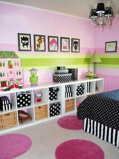 Love this idea for the girls rooms! So much room for all of their things..
