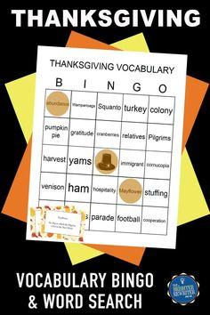 Build vocabulary during November with this fun bingo game, assessment, and word search featuring words related to the holiday of Thanksgiving, its origins, and its traditions. Print and play up to 24 unique, pre-made bingo cards! Thanksgiving Bingo, Thanksgiving Activities, Autumn Activities, Vocabulary Building, Vocabulary Activities, Learning Games For Kids, Bingo Cards, Educational Games, Origins