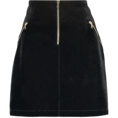 Sandro - Jones Velvet Mini Skirt (6.950 RUB) ❤ liked on Polyvore featuring skirts, mini skirts, bottoms, black, front zip skirt, zipper mini skirt, mini skirt, sandro and short mini skirts