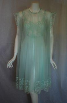 1960s Vanity Fair Mint Green Peignoir set, Intimate Retreat on Etsy
