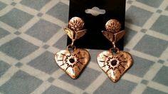 Vintage heart dangle earrings metal tone #Unbranded #DropDangle Pierced Earrings, Dangle Earrings, Ring Bracelet, Bracelets, Charm Rings, Vintage Heart, Pretty Rings, Dangles, Metal