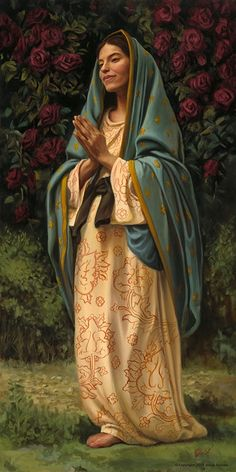 Madonna of the Rose // By Jason Jenicke // Saint Mary's Catholic Church in Bristol, Indiana Blessed Mother Mary, Blessed Virgin Mary, Catholic Art, Religious Art, Virgin Mary Art, Pictures Of Mary, Queen Of Heaven, Mama Mary, Mary And Jesus