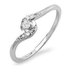 008 Carat ctw 10k White Gold Round Diamond Ladies Bridal Promise Engagement Ring 110 CT Size 7 >>> Check out this .