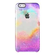 Hand painted pastel watercolor nebula galaxy stars uncommon clearly™ deflector iPhone 6 case