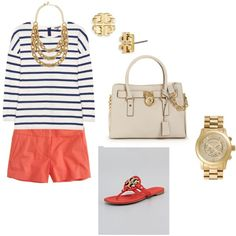 Coral, Stripes, gold... Preppy Style, Style Me, Coral Navy, Navy Gold, Classy And Fabulous, Striped Tee, Pretty Outfits, Passion For Fashion, Dress To Impress