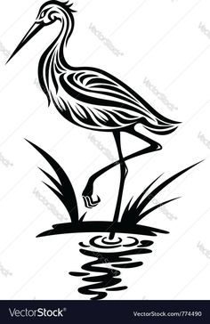Illustration of Heron bird in silhouette style for environment design vector art, clipart and stock vectors. Bird Stencil, Stencil Art, Stenciling, Star Stencil, Stencil Patterns, Bird Silhouette, Silhouette Vector, Silhouette Files, Free Vector Illustration