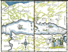 """Swallows And Amazons"" - (1930) - Map- Arthur Ransome"