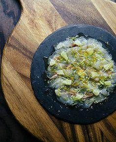Ben Tish's cured sea bream carpaccio with bergamot, bottarga and coriander Carpaccio Recipe, Types Of Oranges, Italian Deli, London Eats, Big Kitchen, Fresh Coriander, I Want To Eat, Weeknight Meals, The Guardian