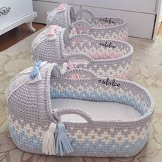 New Crochet Basket Diy Baby Blankets 41 Ideas Diy Crochet Basket, Crochet Basket Pattern, Baby Basinets, Baby Doll Bed, Baby Moses, Moses Basket, Baby Swaddle, Baby Blanket Crochet, Baby Sewing