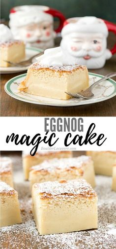 Eggnog Magic Cake-Eggnog Magic Cake One batter bakes into a multi-layered cake! Eggnog Magic Cake is easy to make and comes out with a creamy custard layer and light sponge cake on top! A great Christmas dessert recipe. New Year's Desserts, Holiday Desserts, Holiday Baking, Holiday Recipes, Delicious Desserts, Easy Christmas Baking Recipes, Recipes Using Eggnog, Christmas Dessert Recipes, Health Desserts