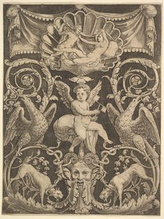 European Sculpture and Decorative Arts — met-drawings-prints: A panel of ornament with a. Renaissance Kunst, Alchemy Art, Pagan Gods, Engraving Illustration, Stuck, Occult Art, Flash Art, Arabesque, Medieval Art