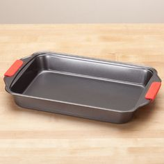 Rectangular Cake Pan with Red Silicone Handles by Home-Style Kitchen™ - Zoom