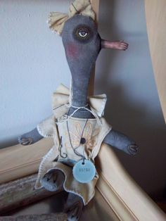 Blackbird art doll handmade weird altered by SweetMeadowDesigns, $29.50