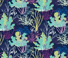 Coral Reef - indigo fabric by jillbyers on Spoonflower - custom fabric