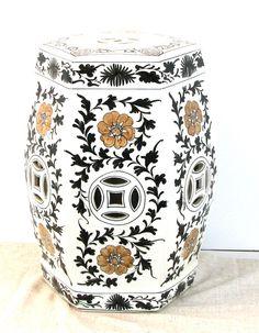 Mottahedeh Porcelain Hand Painted Chinese Tao Garden Seat ~ Octagonal Garden Seat, White Garden Seat, Floral Garden Stool