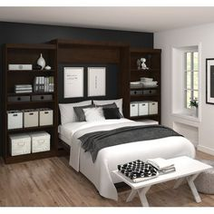 Instead of just buying another bedroom set, try transforming your space with the Cielo by Bestar Elite Full Wall Bed . This wall bed is inspired. Queen Murphy Bed, Murphy Bed Plans, Logan, Murphy-bett Ikea, Modern Murphy Beds, Modern Beds, Ideas Hogar, Bed Wall, Beds Online