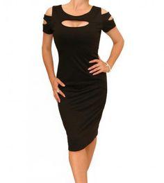 Black Slashed Front Dress #womensfashion Justblue.com