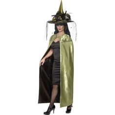 Costum adult, dama, Capa reversibila deluxe, verde si negru
