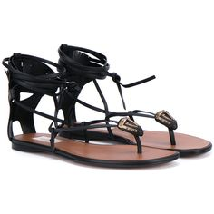 Valentino Leather Gladiator Thong Sandals ($1,460) ❤ liked on Polyvore featuring shoes, sandals, black, leather strappy sandals, black leather sandals, black strappy sandals, black sandals and black strap sandals