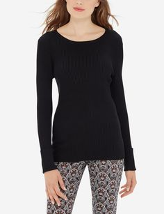 Ribbed detailing with a cuffed sleeve, this essential pullover just got an upgrade in comfortable chic.