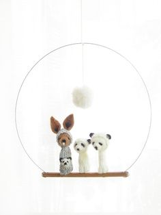 FINGER PUPPET MOBILE / Wall Hanging Needle-Felted by LazyAnimals