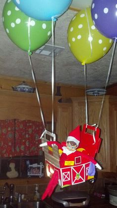 Elf mischief on pinterest elf on the shelf elf and elf for Elf on the shelf balloon ride