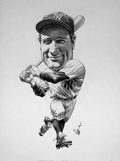 Baseball Art - Lou Gehrig by Bruce Stark Baseball Park, New York Yankees Baseball, Ny Yankees, Baseball Players, Baseball Movies, Baseball Stuff, Cartoon Kunst, Cartoon Drawings, Cartoon Art
