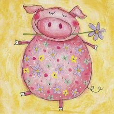 Girls cards and invitations Hipster Drawings, Easy Drawings, Rock Painting Designs, Paint Designs, Watercolor Cards, Watercolor Paintings, Pig Art, This Little Piggy, Happy Paintings