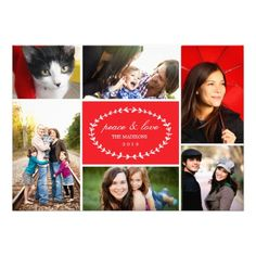 Peace & Love Holiday Multi Photo Card // by Origami Prints #christmas #cards #with #6 #six #multiple #photos #family
