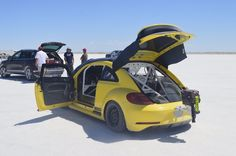 A beefed up VW Beetle prepares for its run