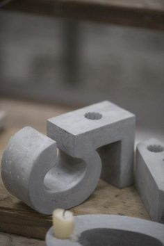 Concrete Number Candle Holder - 5