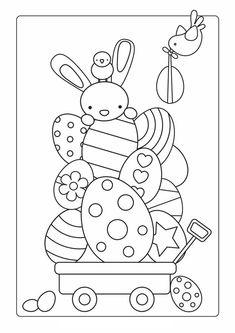 Kleurplaat; Paashaas met eieren