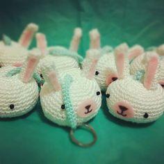 cute crochet amigurumi bunny keychains!!!