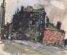 Black and Red Tenement, Glasgow - Joan Kathleen Hardy Eardley Classic Paintings, Beautiful Paintings, City Drawing, Glasgow School Of Art, Abstract City, Expressive Art, Abstract Portrait, Modern Artists, Landscapes